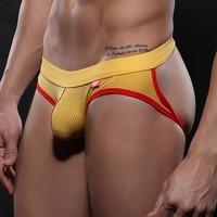 Net wj male panties bag belts breathable net double ding pants big bag low-waist thong