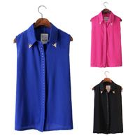 Cool Lady/Girl Chiffon Lapel Rivet Shirt Sleeveless Solid Vest Tops Summer S M L Free&Drop Shipping