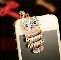 Wholesale kpop brand designer fashion luxury diamond rainbow owl anti dust plug/ks rhinestone earphone dust cap for cell phone