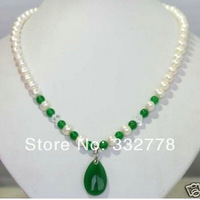 White Freshwater Pearl & green jade Pendant Necklace