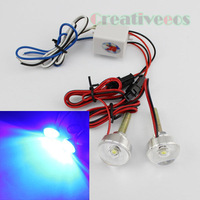 2Pcs Motorcycle Car 12V Round LED Decorative Strobe Flash Tail Brake Warning Light Lamp Show Blue Color Light New