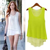 Fashion women's normic loose plus size sleeveless chiffon shirt top medium-long spaghetti strap top basic shirt small vest