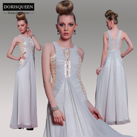 DORISQUEEN Free Shipping New Arrival  Sequins Long  Floor Length A-line Ruched  Light Grey Prom Dresses  2014
