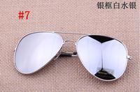 FASHION  Cycling sport  Vintage Glasses Frog mirror lens coating sunglasses Man  Women  Silver Frame White  Mirror   lens 7