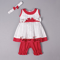 2014 New Fashion Child Clothes Suits Cotton Bow T Shirt And Girl Red Pants With Handband For Infant  Summer Clothing Sets