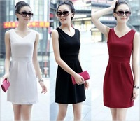 2014 New Summer Korean Womens Solid Sleeveless V Neck Casual Dress Ladies Vest Short Dress Sundress