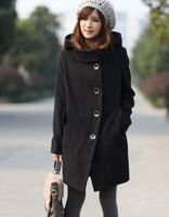 2014 Free Shipping New Women's Winter Warm Graceful Turndown Collar Thicken Long Sleeves Single Breasted Hooded Coat Black/Khaki