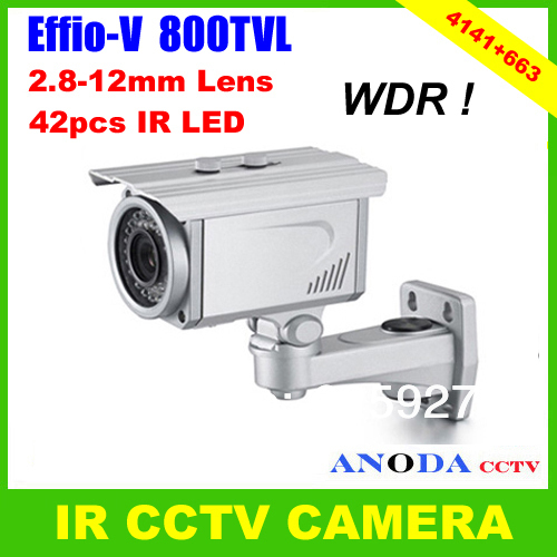 800TVL Super WDR Sony Effio-V CXD4141GG OSD Menu 2.8-12mm Varifocal Zoom Lens Weatherproof Security IR CCTV Camera(China (Mainland))