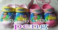 Free shipping 2014 3D Design DORA Small children and big children girls Slides sandal shoes size 6C7-12C13/ J1,J2,J3