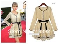 2014 European summer autumn fashion women lace dress elegant floral long brand embroidery design cute top for woman plus size