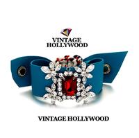2014 fashion vintage hollywood Red Crystal flower blue riband bracelets new arrive fashon bracelets free shipping