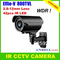 Security Weatherproof Outdoor 800TVL Sony Effio-V 960H CCD 2.8-12mm Varifocal Zoom Lens CCTV Camera