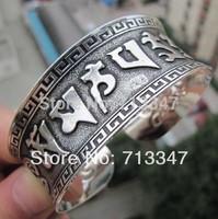 New Ethnic Wind Oracle Tibetan silver Women Men Open Adjustable Bracelet Bangle