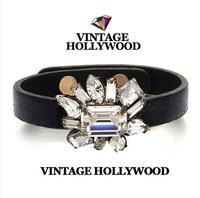 Vintage hollywood shine crystal flower leather bracelet