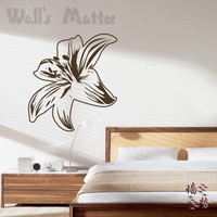 Free Shipping Wholesale and Retail Lily flower  Wall Stickers Wall Decor Decal Wall Paper Home Decor