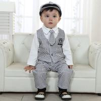 new 2014 Spring children set 5pieces=Shirt+vest+pants+hat+tie=set Korean Gentleman set baby boy suit 1set/lot size80-100cm black