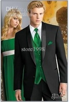 Wholesale - black suit vest green satin shawl lapel groom groomsman groomsmen dress men's wedding dress and groom ( Jacket + pan