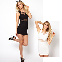 K0itten Hyraxes Sexy Gauze 2014 New Summer Women  Dress Patchwork Cutout Sexy Slim Fashion One-piece Dress