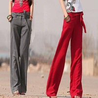 2014 Spring New women advanced linen wide leg loose casual bell-bottomed pants, high quality female trousers + free shipping