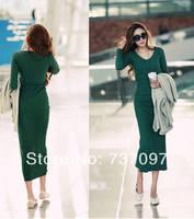 Free shipping hot selling spring 2014 women dress, new 2014  casual dress,Neck Pleated chiffon long sleeves Dress  Women.