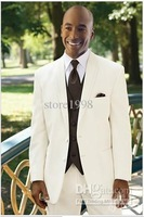 Wholesale - custom ivory brown suit vest dress and groom groomsman groomsmen men wedding dress Groom ( Jacket + pants + tie + ve