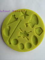 Free shipping Silicone molds Gaura plastic yellow fondant cake baking mold cookie mold golf