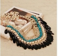 Ms 2014 fashionable Europe sell like hot cakes Bohemia national wind pressure water chain tassel necklaces clavicle
