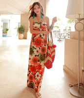 New arrival 2014 summer  bohemia maxi beach dress halter-neck tube top dress full dress viscose print tube top long dress