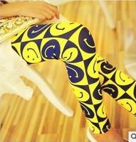 FREE SHIPPING 2014 female trousers fashionable joker character smiling face fluorescence leggings