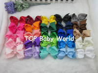 2014 Hot selling 25colors 4inch grosgrain ribbon baby boutique hair bows WITH CLIP for hair accessories 25pcs/lot free shipping