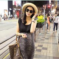 Maternity dress leopard fashion chiffon one-piece dress summer print chiffon dress for pregnant women