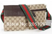 1pcs/ sample New best quality waist pack bag Brown red/green belt