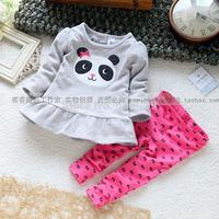 Fashion fashion children's clothing set trousers top female child set endomorph