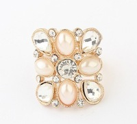 Korean beauty boutique pearl ring geometry2014 New Designer Jewelry For Women