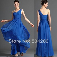 Free Shipping  One shoulder Simple evening gown Chiffon long custom made new Floor length Special Occasion Evening Dresses