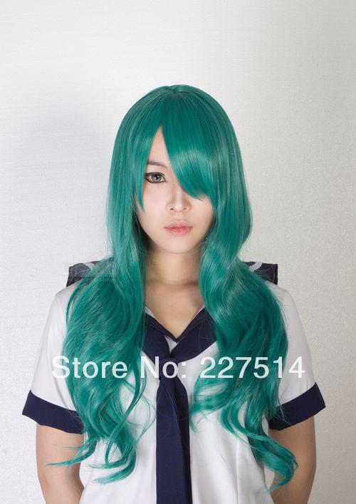 Pretty Soldier Sailor Moon Kaiou Michiru Full Party Customs Cosplay wig M150(China (Mainland))