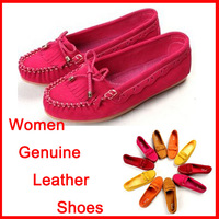 New Sale Women genuine leather solid casual boat mother shoes loafers casual flat walking shoes free shipping