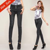 2014 Hot Sale Big Size Retro Style Dark Grey Women's Jeans Pants High Waist Denim Skinny Mid-elastic Trousers 6509