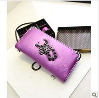 Miss Europe 2014 new punk wallet purse female long section of skull buckle rivet wallet tide free shipping