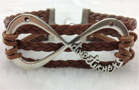 10Pcs 8 Infinity Charm Bracelets-Wax Cords Leather Braid b0126