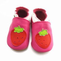 Genuine leather baby shoes purple small strawberry soft slip-resistant outsole toddler shoes baby shoes