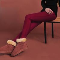 13865 XXXXL XXXXXL Plus Size 2014 Fashion Winter Quality Warm Fleece Heavy High Waist Stretch Woman Pencil Feet Pants Trousers