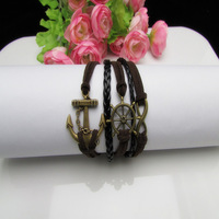 10Pcs 8 Infinity,Anchor,Rubber in Bronze Charm Bracelets-Wax Cords Leather Braid b128