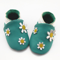Genuine leather baby shoes Sky Blue little daisy soft toddler shoes slip-resistant outsole baby shoes