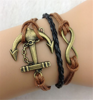 10Pcs 8 Infinity,Anchor in Bronze Charm Bracelets-Wax Cords Leather Braid b126