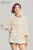EMS Free Shipping 100% Real Natural Genuine Rabbit Fur Luxury Medium-Long Coat Jacket Outwear Garment Women Lady PC141