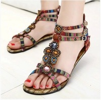 Freeshipping New Arrival Bohemian Style Lady Fashion Summer Shoes Women Casual Flat Sandals Ethnic Fashion Shoes B145