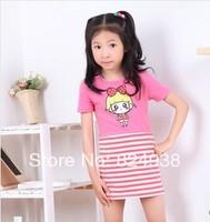 Girls summer 2014 new short-sleeved children's personality spell color stripe spell color dresses for girls