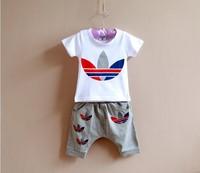 Free shipping wholesale 2014 spring summer Children's brand clothing  sets boys short-sleeve capris shampooers twinset baby set