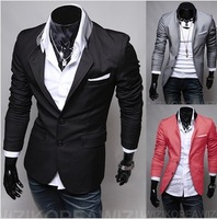 New Spring 2014 Men Blazer Casual Slim Lapel Men Suit Plus Size Blazers Free Shipping ly3-30